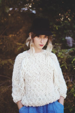 Image of Kingston sweater in natural merino wool (w/ optional fringe detail)
