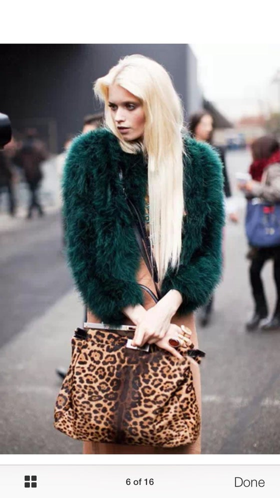 Image of Feather bomber jacket coat faux fur shaggy