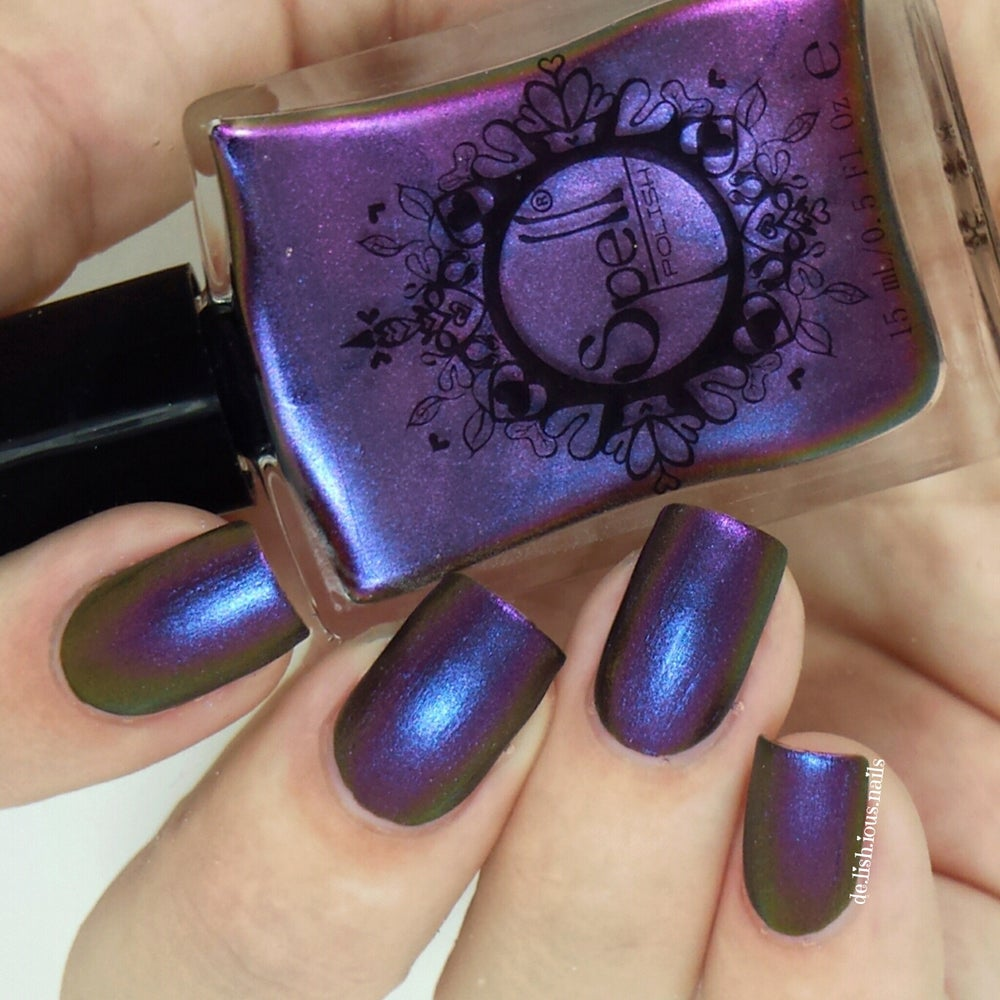"Image of ~Shyster~ dark plum/violet/gold multichrome Spell nail polish ""Revenge of the Duds""!"