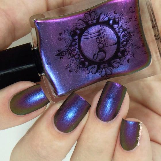 "Image of ~Shyster~ dark plum/violet/gold multichrome Spell nail polish ""Revenge of the Duds""!"