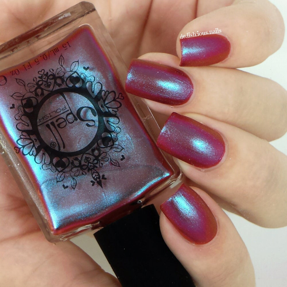 "Image of ~Lunkhead~ cranberry red/aqua duochrome Spell nail polish ""Revenge of the Duds""!"