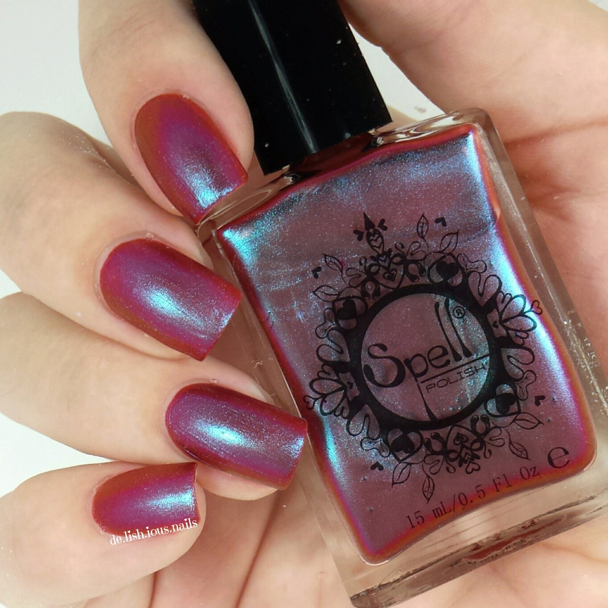 ~Lunkhead~ Cranberry Red/aqua Duochrome Spell Nail Polish
