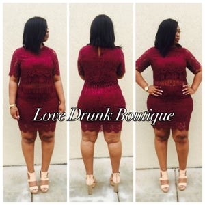 Image of Miss Lovey Lace Set (Burgundy)