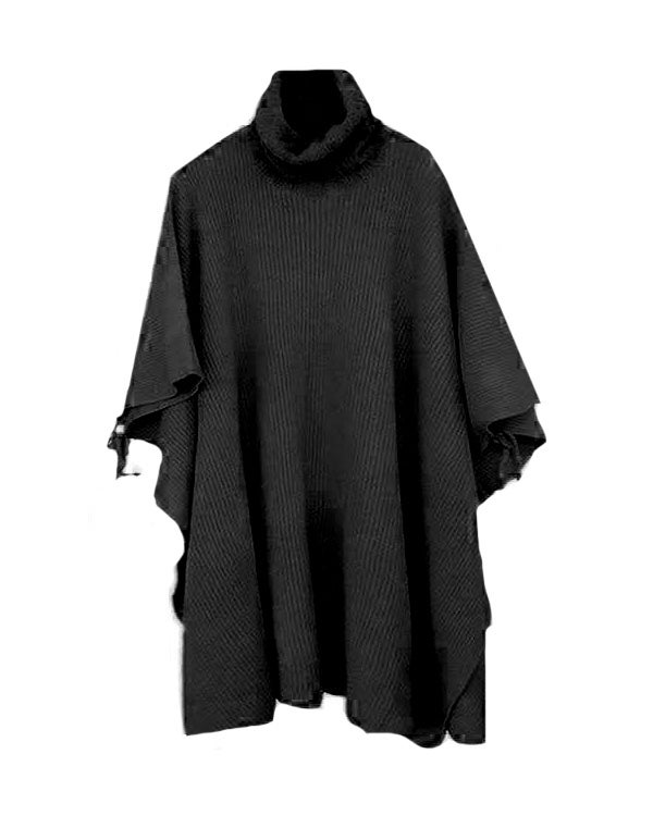 Image of BLACK TURTLE NECK CAPE