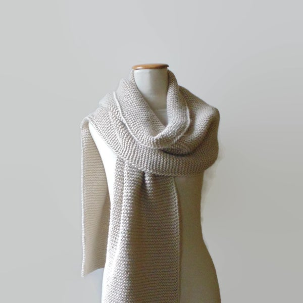 Image of Blanket Scarf Hand Knit in Soft Wool Blend - Long Scarf