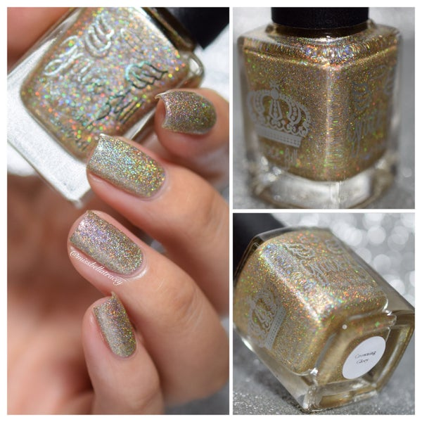 Image of Crowning Glory – a gold holo base with superholograpic micro glitter