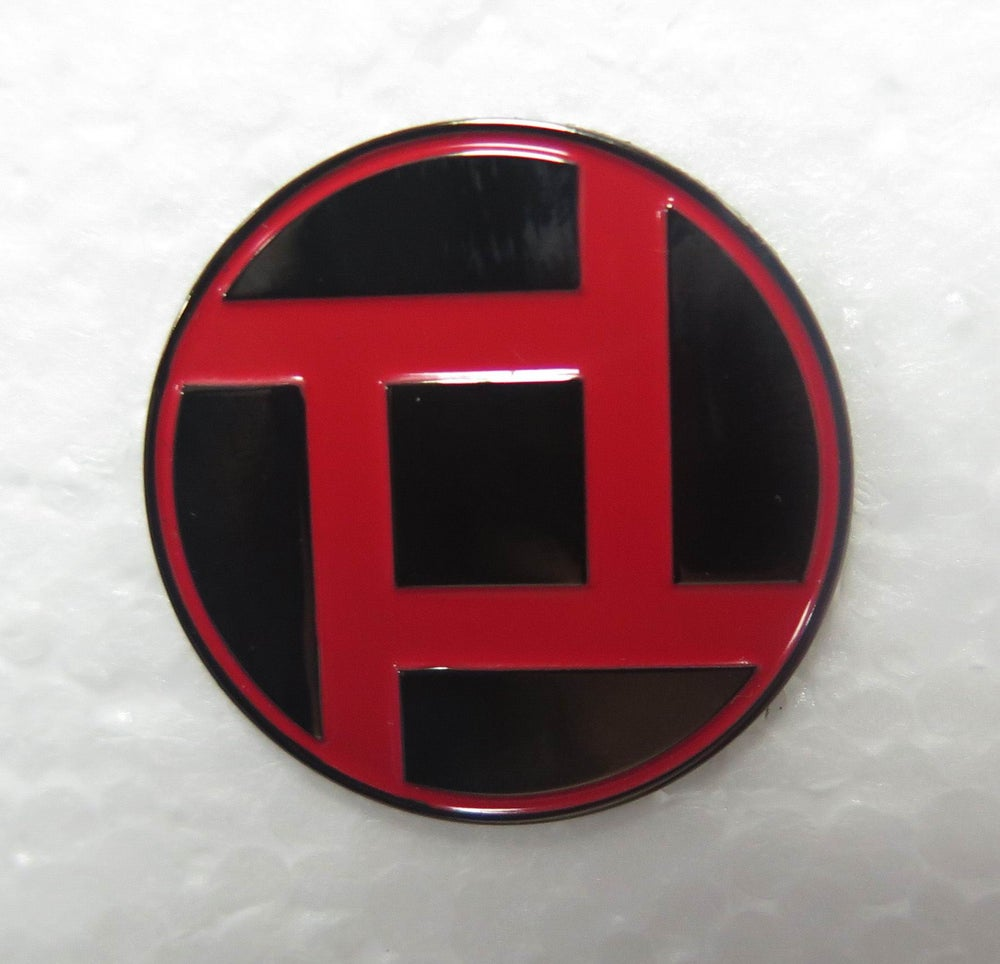 "Image of 1"" Circle 4P Process Church metal pin"