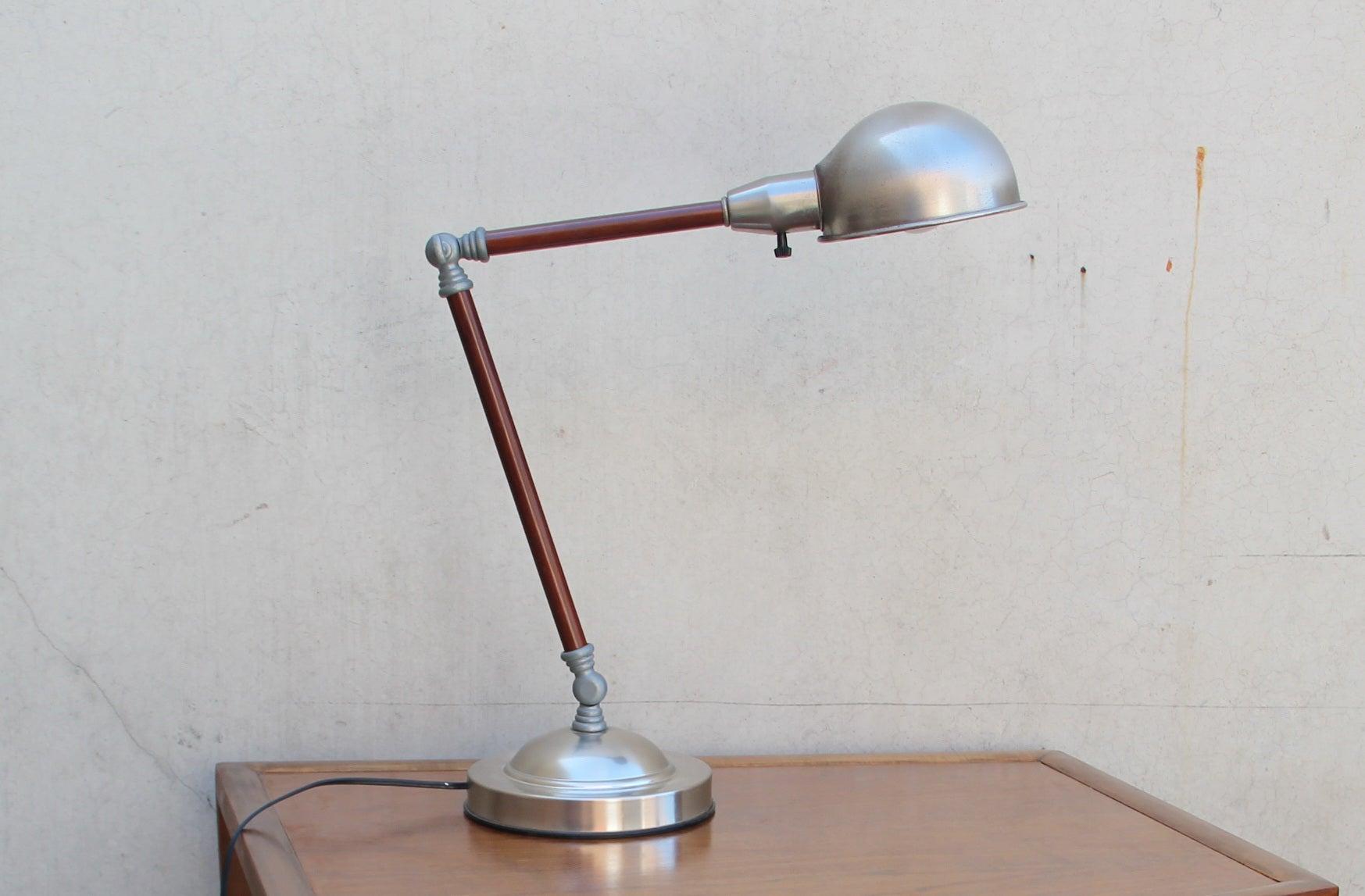 iridium interiors adjustable metal desk lamp with wood accent. Black Bedroom Furniture Sets. Home Design Ideas