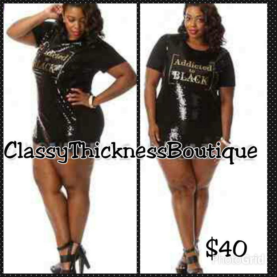 """Image of Sequined """"Addicted"""" Shirt Dress"""