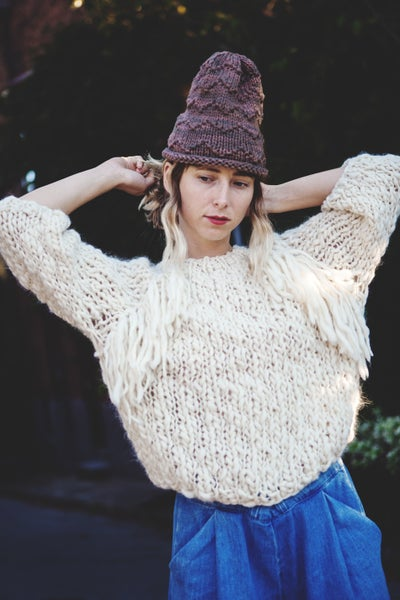Image of Kingston sweater in natural merino wool (w/ optional fringe detail)