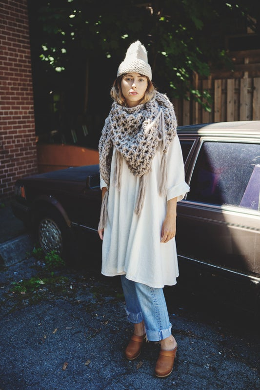 Image of Belleville shawl/cowl/wrap w/ fringe (shown in fawn)