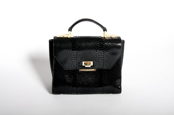 Image of Alexa Top Handle Bag (Black Croc)