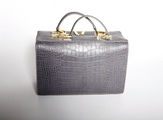 Image of Rosa Suitcase (Stone Gray Croc)