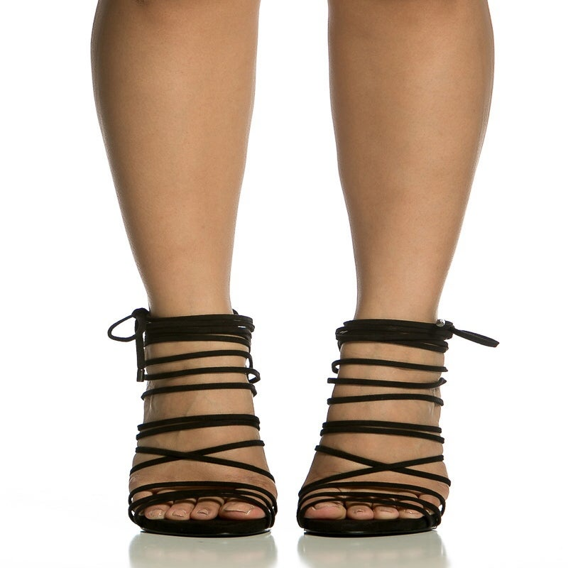 Image of Black Strappy Lace Up Sandal
