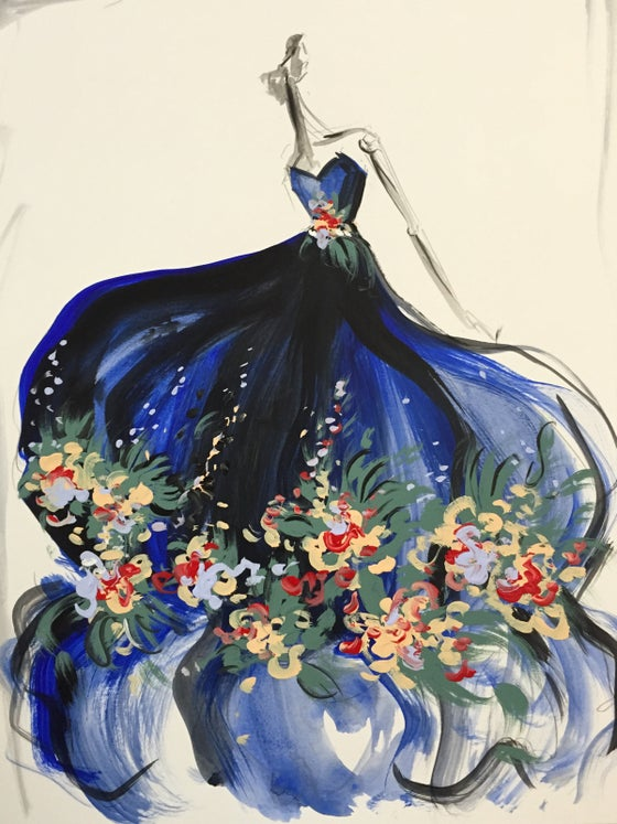 "Image of ""Floral Petal Appliqué Organza Gown"" Original Sketch"