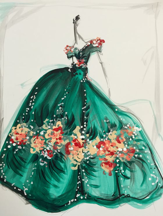 "Image of ""Satin Floral Appliqué Gown"" Original Sketch"
