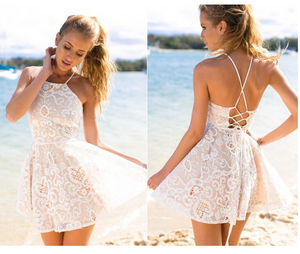 Image of FASHION HOT STRAPS LACE DRESS