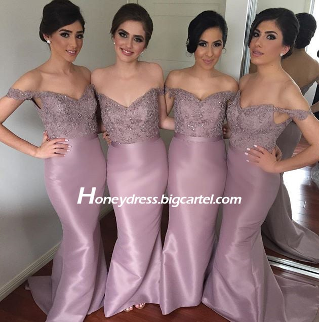 Image of Purple Satin Off The Shoulder Bridesmaid Dress With Sweetheart Neckline