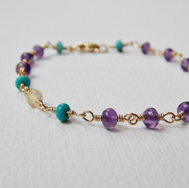 Image of Amethyst, Turquoise and Citrine Bracelet in Gold Fill