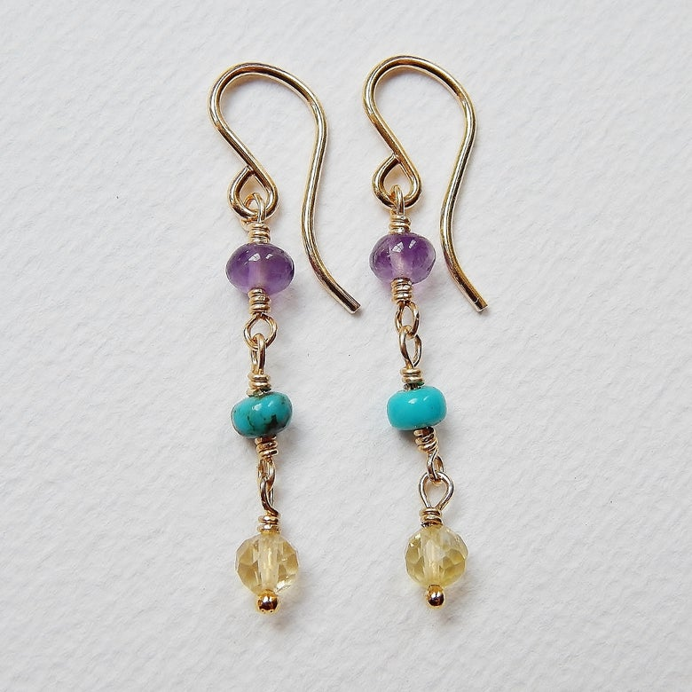 Image of Amethyst, Turquoise and Citrine Earrings in Gold Fill