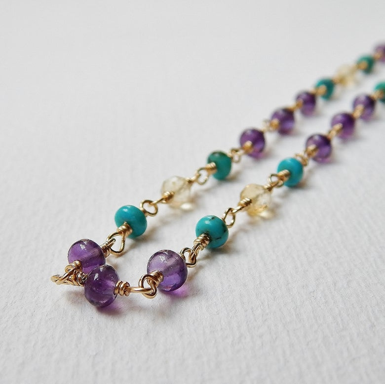 Image of Amethyst, Turquoise and Citrine Necklace in Gold Fill