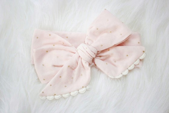 Image of Pink Corduroy Knotted Bow Headwrap