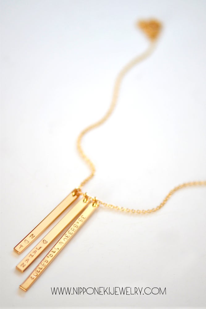 Image of Three Skinny Bar Necklace - Vertical Bar Necklace in Gold Filled , Rose Gold or Sterling Silver