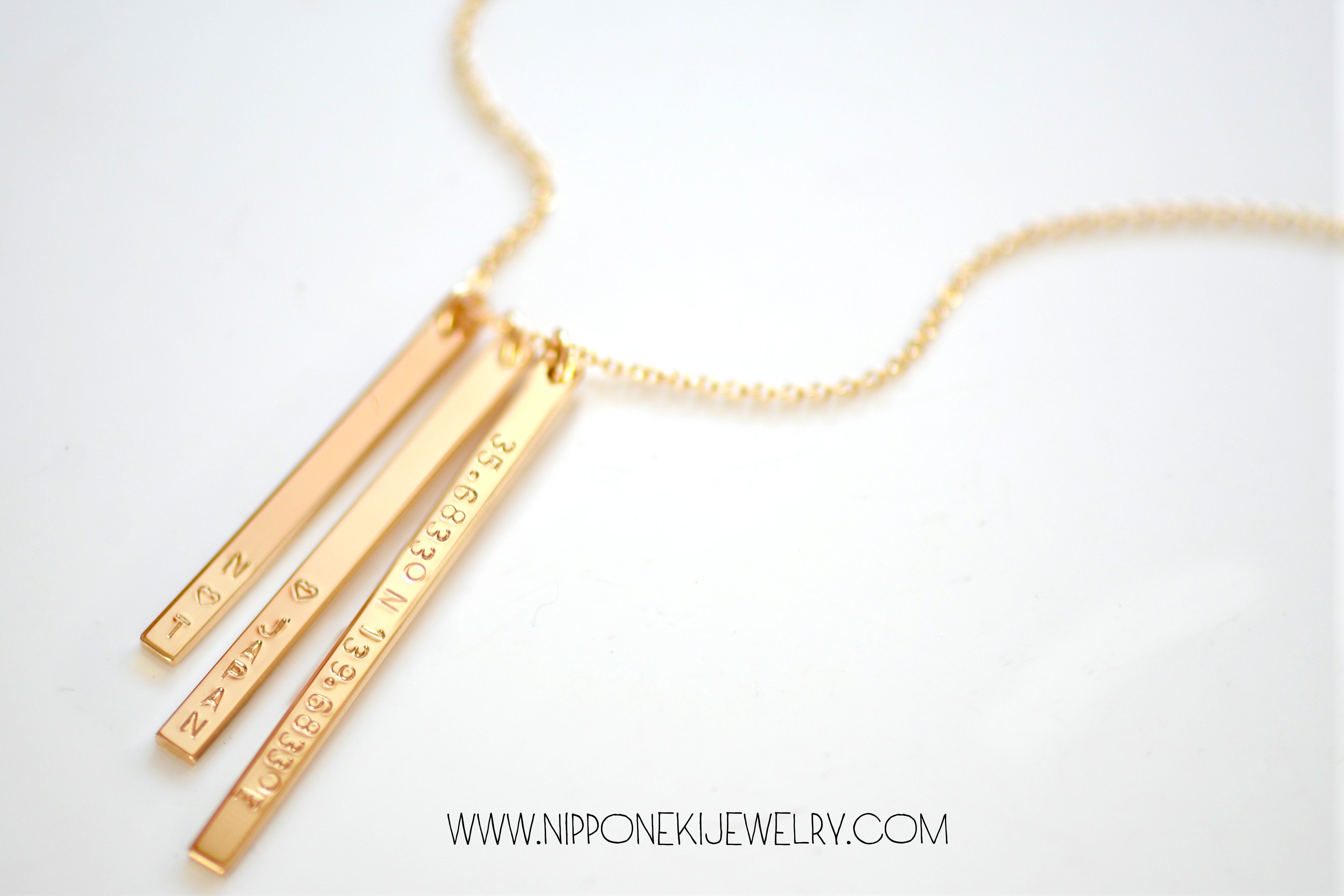 Three Skinny Bar Necklace Vertical Bar Necklace In Gold