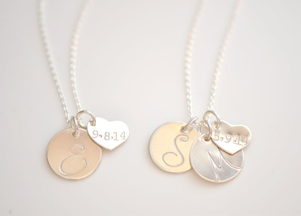 Image of Couple's Initial Necklace with Date in Rose Gold, Gold or Sterling Silver