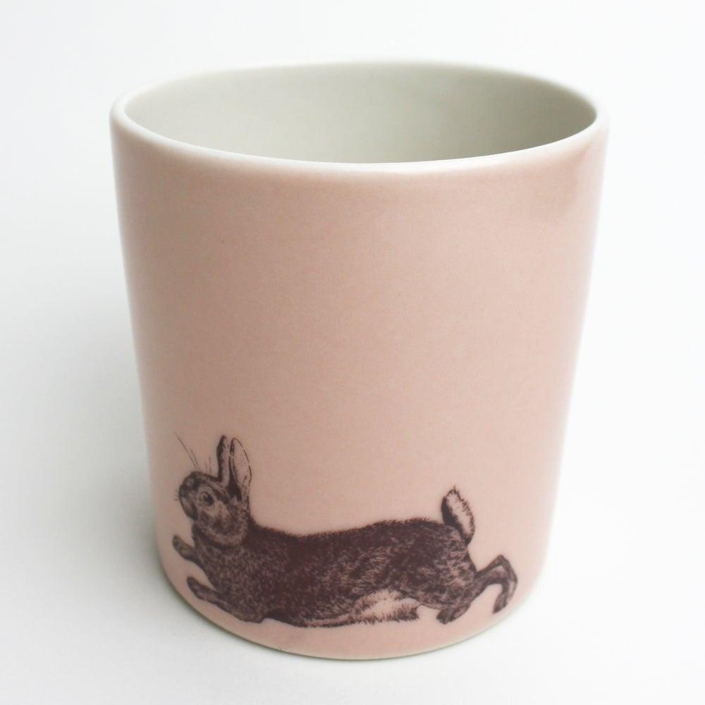 Image of 14oz tumbler with rabbit, rose