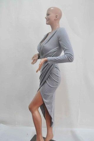 Image of LONG-SLEEVED V-NECK DRESS DRESS OPEN FORK SKIRT CULTIVATE ONE'S MORALITY DRESS