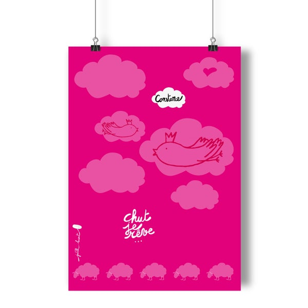 Image of Affiche Chut je rêve PERSONNALISABLE rose