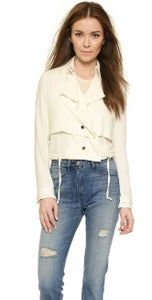 Image of Haute Hippie -Cropped off white trench jacket