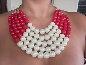 Image of Lady in Pearls Necklace RED