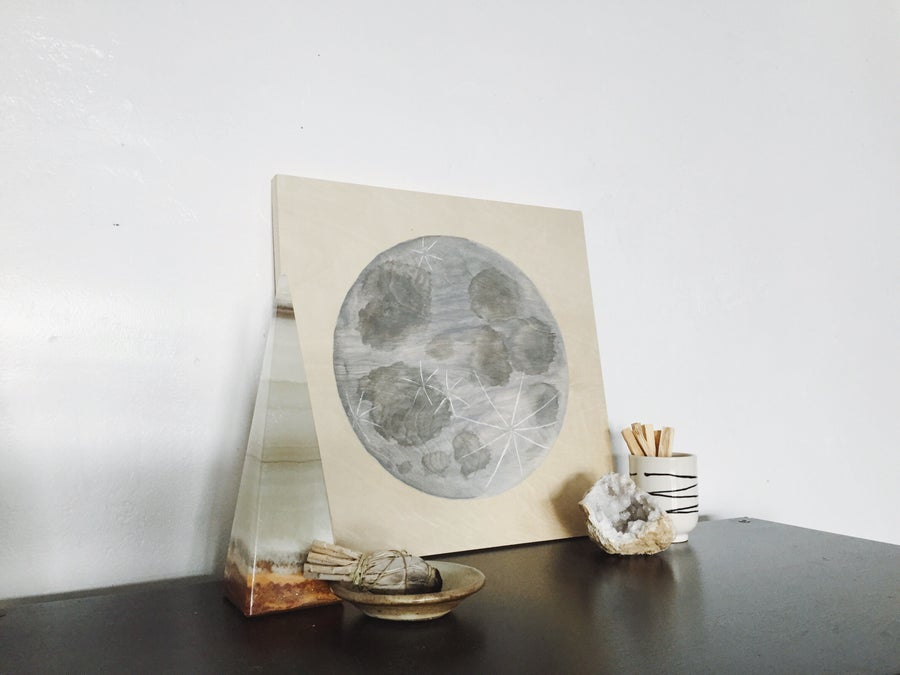 Image of Moon on Wood 14x14