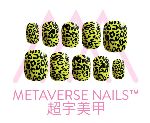 Image of Metaverse Nails- Neon Leopard Yellow