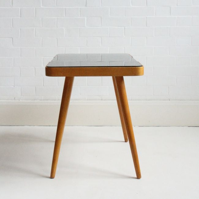 Image of mid-century wood and glass table (small)