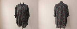 Image of 80s Khaki & Brown Patterned Blouse by Montage (Pour Homme) - L