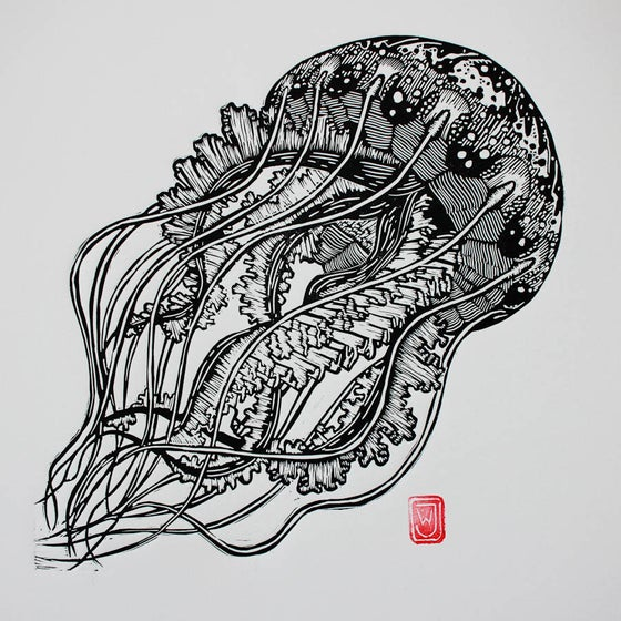 Image of Jellyfish Linocut Print
