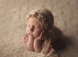 Image of ~ Crepelle lace bonnet  ~ Dry Rose