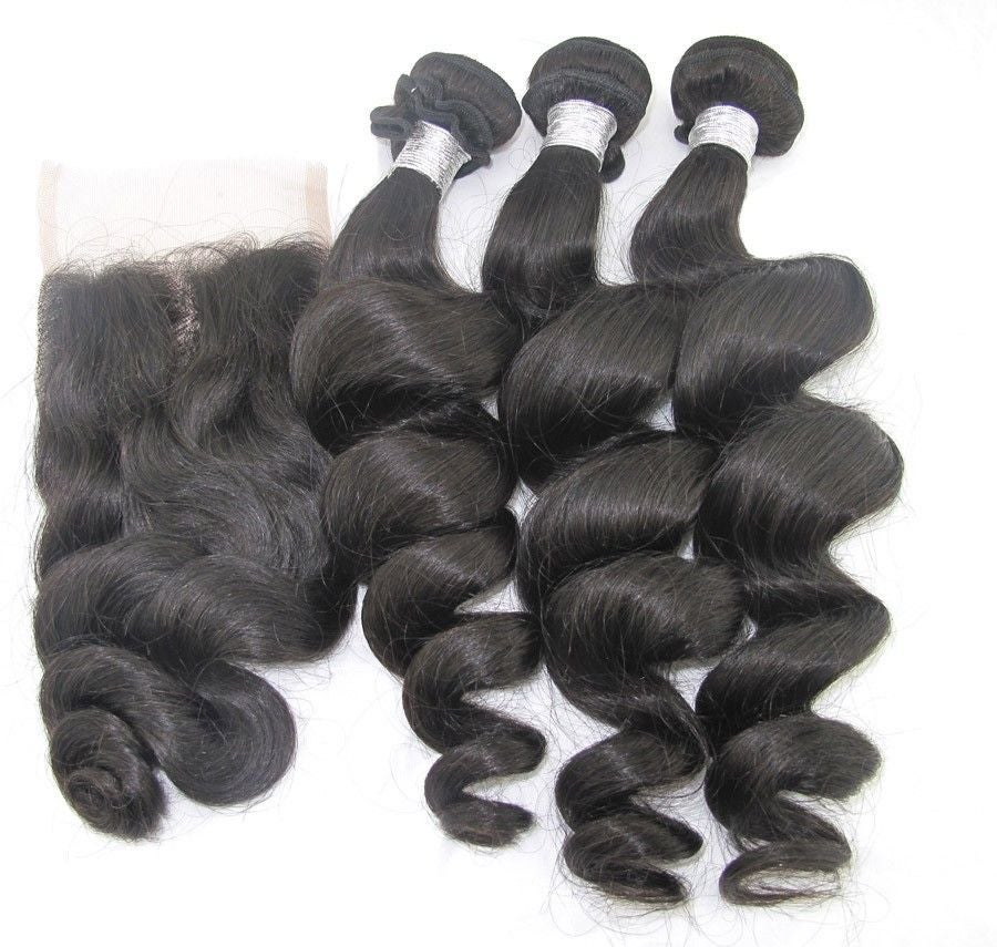 Image of Brazilian Loose Wave 3 Bundles with Closure