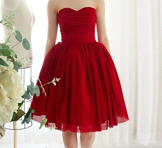 Image of HOT RED STRAPLESS DRESS HIGH QUALITY LOWEST PRICE