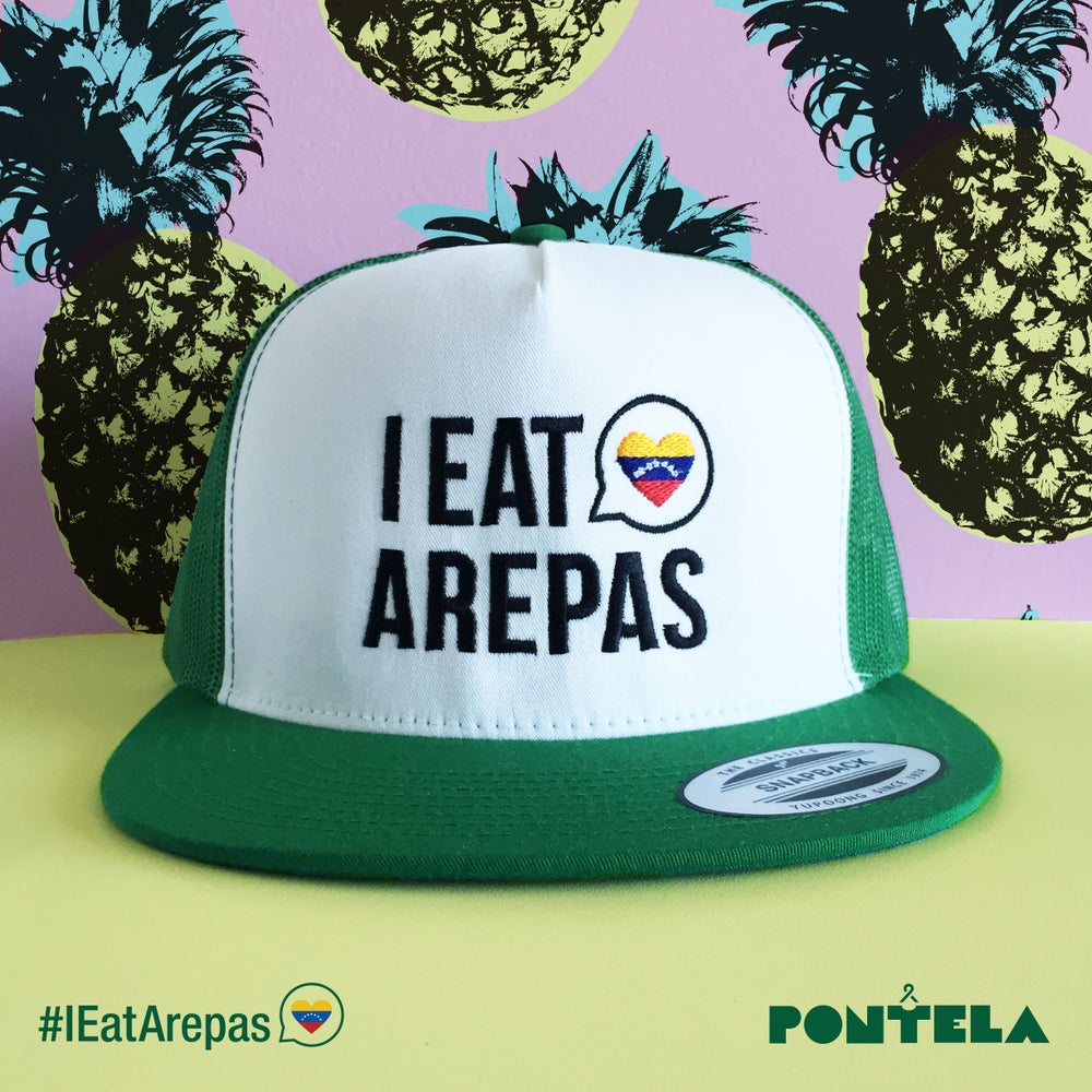 Image of I Eat Arepas Green/White Panel