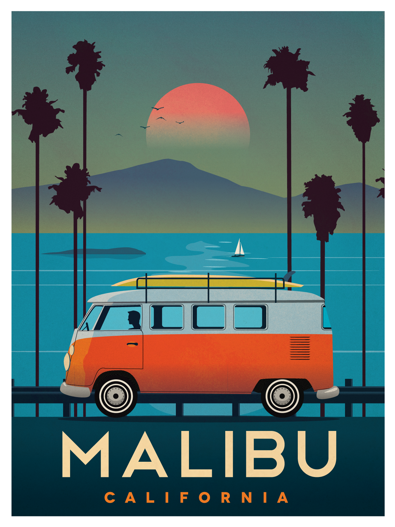 ideastorm studio store vintage malibu poster. Black Bedroom Furniture Sets. Home Design Ideas