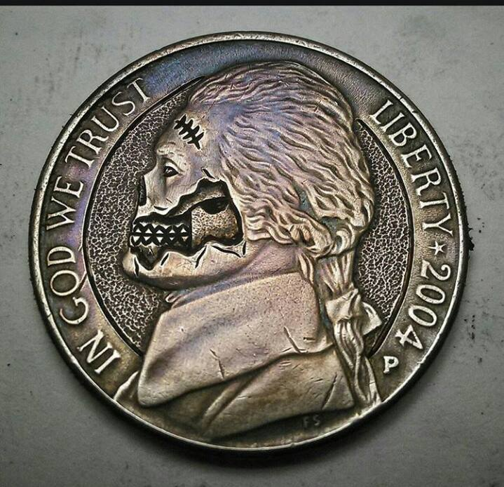 Image of Zombie Jefferson Nickel - Made To Order