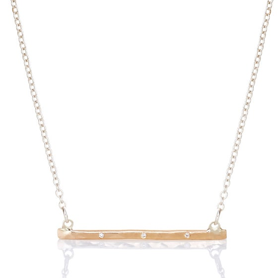 Image of Gold Bar Necklace with Diamond Trio