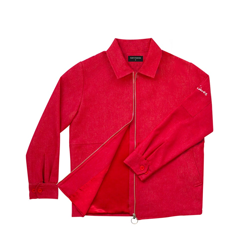 Image of COACH JACKET (RED DENIM)