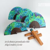 Image of Set de 5 abanicos en la madera y la tela que elijas - ENVIO GRATIS