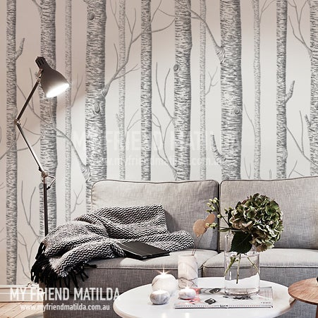 Birch forest wallpaper peel and stick removable wall - Birch tree wallpaper peel and stick ...