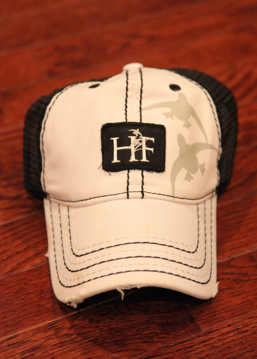 Image of White HF Hat with Black Stitching